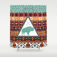 navajo Shower Curtains featuring Navajo Buffalo by crows nest
