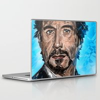 robert downey jr Laptop & iPad Skins featuring RD JR by Balazs Pakozdi