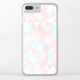 Pastel Millennial Pink Teal Triangle Ombre Geometric Cute Pattern Clear iPhone Case