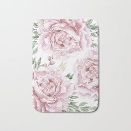 Pretty Pink Roses Flower Garden Bath Mat