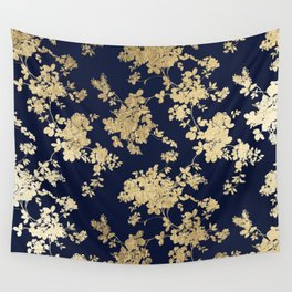 Elegant vintage navy blue faux gold flowers Wall Tapestry