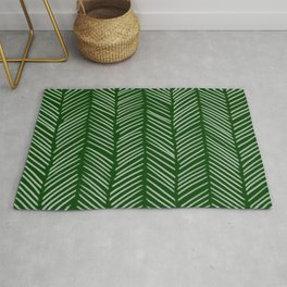 Forest Green Herringbone Rug