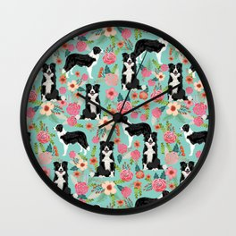 border collie cute florals mint pink black and white dog gifts for dog lover Wall Clock