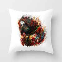 the winter soldier Throw Pillows featuring Winter Soldier by ururuty