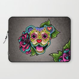 Smiling Pit Bull in Fawn - Day of the Dead Pitbull Sugar Skull Laptop Sleeve