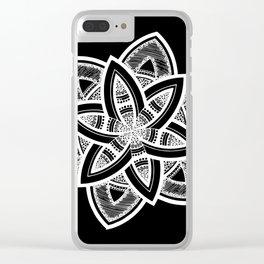 Authentic white mandala on black Clear iPhone Case