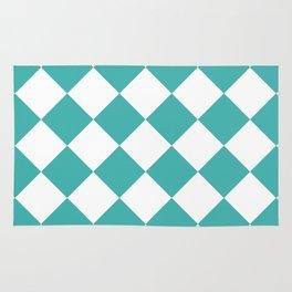 Large Diamonds - White and Verdigris Rug