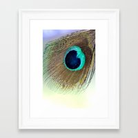peacock feather Framed Art Prints featuring Peacock feather by Hannah