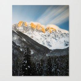Last light of sunset on Slovenian Alps Canvas Print
