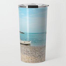 AFE White Boat, Beach Photography Travel Mug