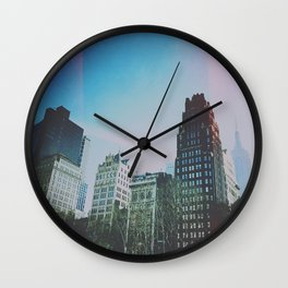 NYC SKYLINE empire state winter Wall Clock