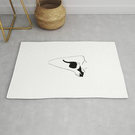 Girl and Cat Abstract Black And White Art Rug