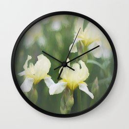 Yellow Iris Flowers in Green Field Wall Clock