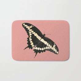 Butterfly Illustrated Print Bath Mat