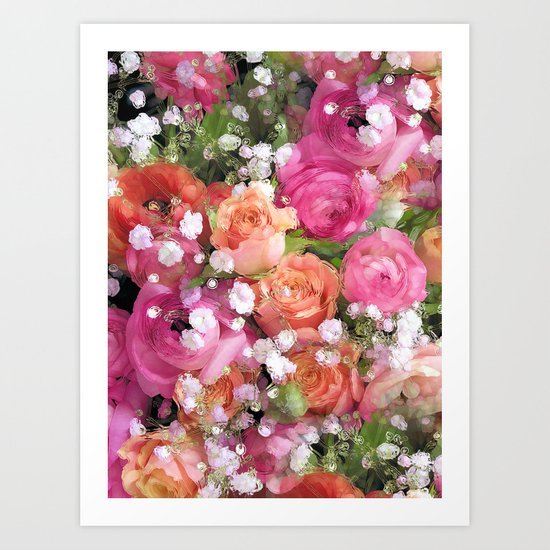 Baby's Breath and Candy Roses Art Print