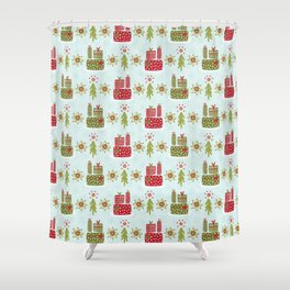 Wrapped Presents Under the Tree Green and Red Shower Curtain