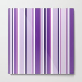 Lilac and Mauve Purple Stripes Metal Print