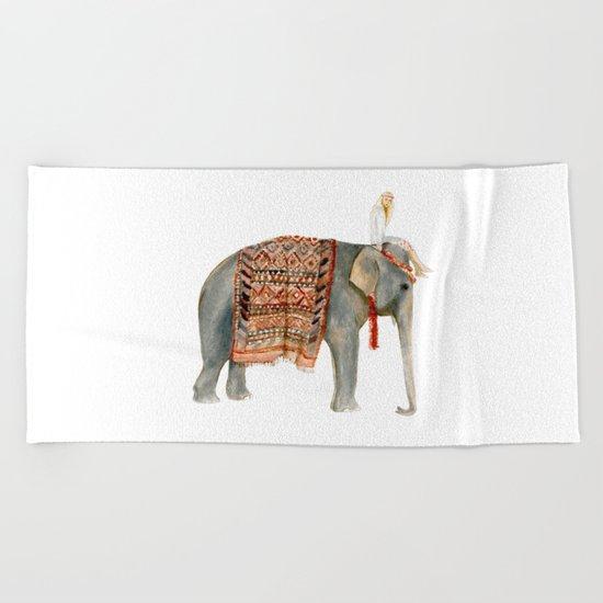 Elephant Ride Beach Towel