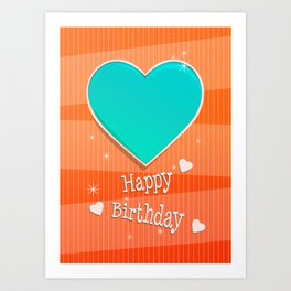 Birthstones December Blue Turquoise Heart Shaped Birthday Art Print