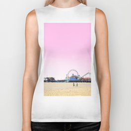 Santa Monica Pier with Ferries Wheel and Roller Coaster Against a Pink Sky Biker Tank
