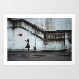 Banksy street art / photograph - girl with red ballon Art Print