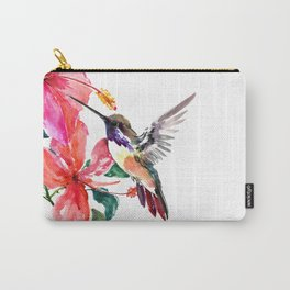 Hummingbird and Hibiscus, tropical Hibiscus design Carry-All Pouch