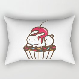 Chubby Bunny on a cupcake Rectangular Pillow