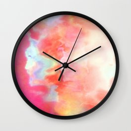Abstract Cloud Formation in Shades of Peach and Pink Wall Clock