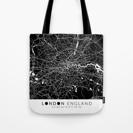 London England Map With Coordinates Tote Bag