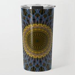 Mandala in golden and blue tones Travel Mug