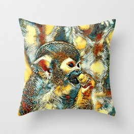 AnimalArt_Monkey_20180203_by_JAMColors Throw Pillow