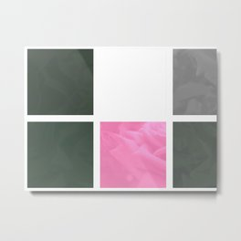 Pink Roses in Anzures 6 Abstract Rectangles 1 Metal Print