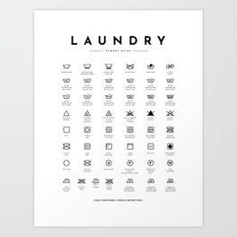 Laundry Symbols Care Guide  Art Print