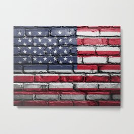 US Flag Painted on Wall Peeling on a City Street Art Metal Print
