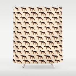 German Shepherd: Red & Black Shower Curtain