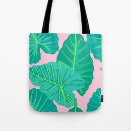 Giant Elephant Ear Leaves in Light Pink Tote Bag