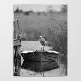 Blue Heron on Fishing Boat II Poster