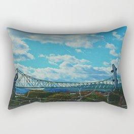 Aged Angler and Fish at the Campelton Bridge Rectangular Pillow