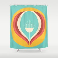 50s Shower Curtains featuring 50's floral pattern V by VessDSign