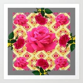 PINK GARDEN ROSES PATTERN  GREY ABSTRACT Art Print