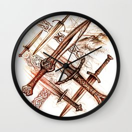 Mythopoetic Blades Wall Clock