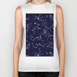 Zodiac Constellations in Night Navy Biker Tank