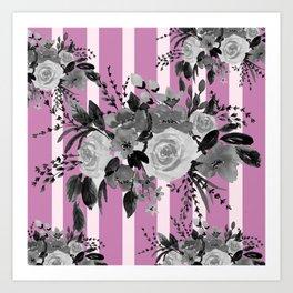 Purple Stripes Floral Bouquet Art Print