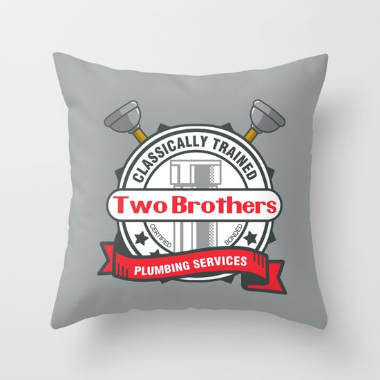 Two Brothers Plumbing Throw Pillow