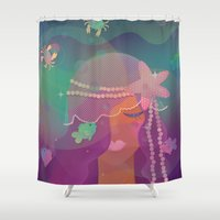 mermaid Shower Curtains featuring Mermaid by Graphic Tabby
