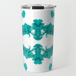Cyan Ink Drop In Water Travel Mug