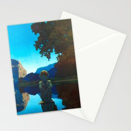Twilight Sky Blue, Evening Shadows by the Reflection Pool landscape painting by Maxfield Parrish Stationery Cards
