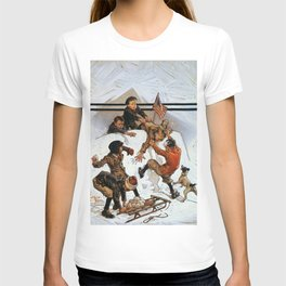 12,000pixel-500dpi - Joseph Christian Leyendecker - Snowball Fight - Digital Remastered Edition T-shirt
