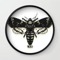 moth Wall Clocks featuring Moth by Nick Rissmeyer