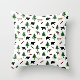 Moose Bear Throw Pillow